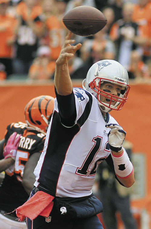 TOUGH DAYS: New England Patriots quarterback Tom Brady has struggled without his top two tight ends. In a 13-6 loss to Cincinnati, Brady's passer rating of 52.2 was his lowest in 59 games and his completion rate of 47.4 was his lowest in 117 games.