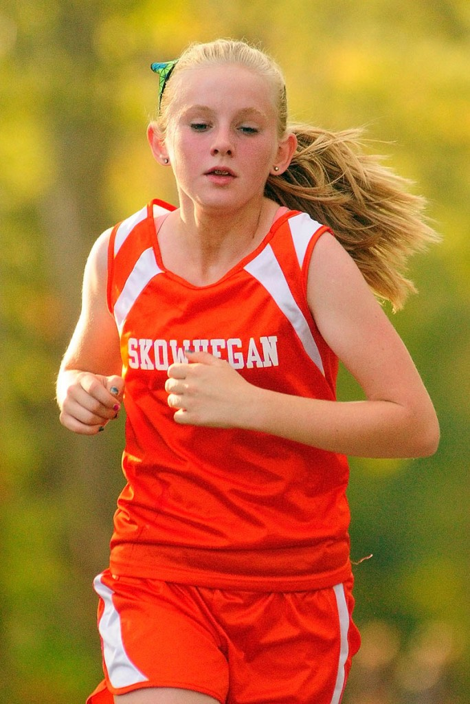 Skowhegan's Olivia Smith runs during a cross country meet Wednesday at Erskine Academy in South China.