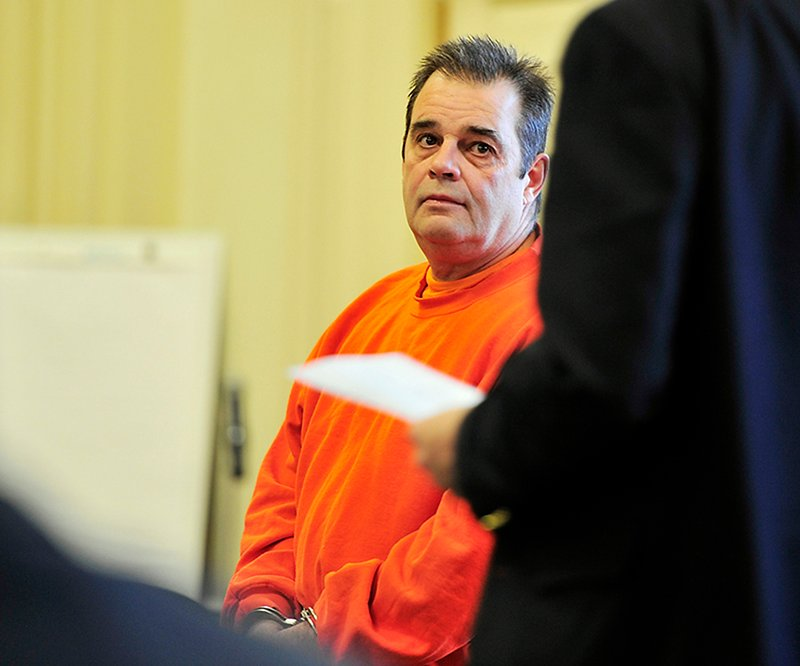 David Labonte is arraigned in York County Court in Alfred and looks to his attorney as he is about to plead