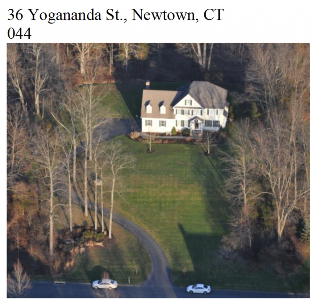 """This image contained in the """"Appendix to Report on the Shootings at Sandy Hook Elementary School and 36 Yogananda St., Newtown, Connecticut On December 14, 2012"""" and released Monday, Nov. 25, 2013, by the Danbury, Conn., Stateís Attorney shows an aerial scene at 36 Yogananda St., where gunman Adam Lanza lived with his mother in Newtown, Conn. Lanza opened fire inside the school killing 20 first-graders and six educators, and killed himself as police arrived."""