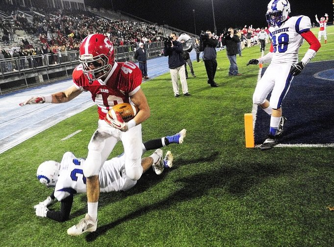 TD RECEPTION: Cony wide receiver Jonathan Saban runs out of end zone after scoring Rams first touchdown in on passing play in third quarter during the Class B state championship game on Friday at Alfond Stadium in Orono.