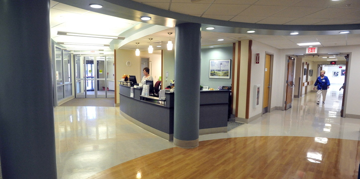 LOBBY: The current lobby of Thayer Center for Health in Waterville will be one of the first projects to undergo a facelift as part of a $16 million renovation project at the building on North Street.