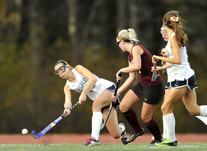 TAKE THE SHOT: York's Kathleen Cronin gets a shot back upfield during first half action vs. Nokomis in the Class B field hockey state championship game Saturday at Yarmouth High School.