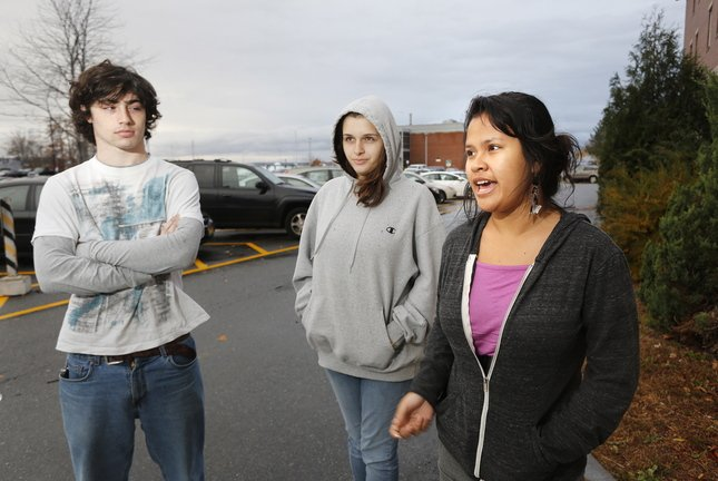 """Southern Maine Community College students talk about the idea of a """"Pay It Forward"""" model Thursday in South Portland. From left, they are: Nicholas Gallup of Falmouth, Payton Bourne of Holderness, N.H., and Adeleana Bayreuther of Readfield."""