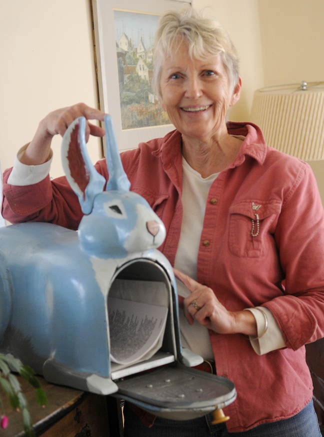 Blue rabbit: Sheila Stratton, widow of Abbott Vaughn Meader, says her late husband started collecting blue rabbits after an acid trip where he saw himself as a blue rabbit. The blue rabbit mailbox was a gift from friends in Florida and sits in the living room of her Augusta home.