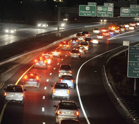 Northbound traffic on I-295 backs up as it nears an accident scene between the Forest Avenue exit and the Franklin Arterial exit Tuesday.