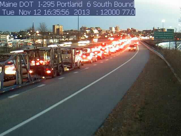 A traffic cam shows traffic on Interstate 295 at a standstill in Portland at about 4:30 p.m. Tuesday.
