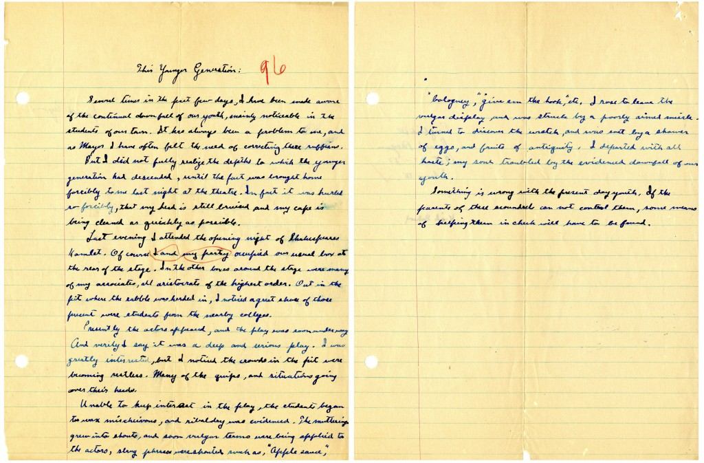 """This image provided by the Ronald Reagan Presidential Library shows a two-page essay written by Ronald Reagan titled """"This Younger Generation"""" written on Oct. 27, 1927, during his senior year in high school."""