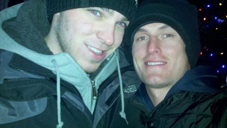 Matthew Rairdon, left, and Patrick Milliner pose together in January.