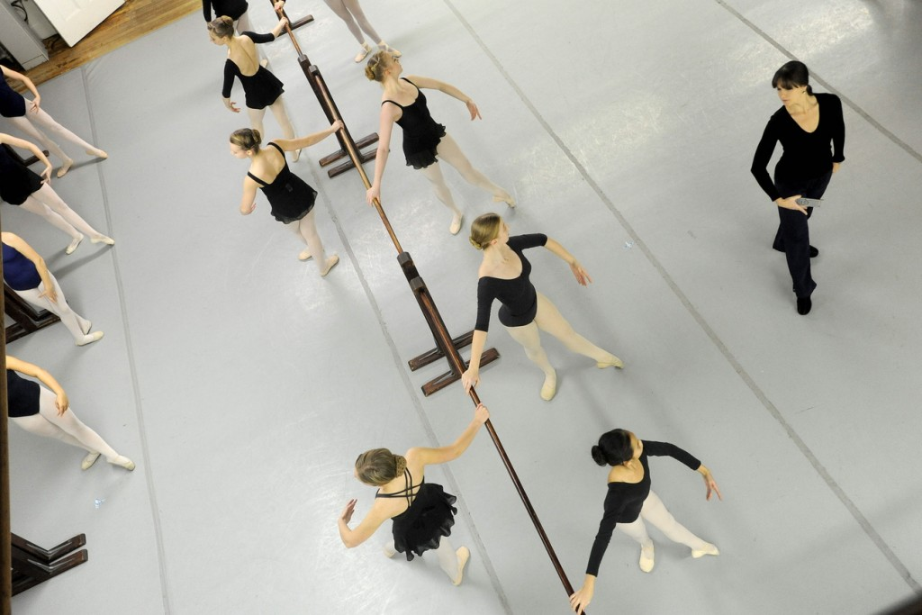 """BOSSOV BALLET: Natalya Getman, far right, rehearses with the Bossov Ballet cast of """"The Nutcracker"""" at Maine Central Institute in Pittsfield on Thursday. Getman is the new artistic director for Bossov following the departure of Andrei Bossov."""
