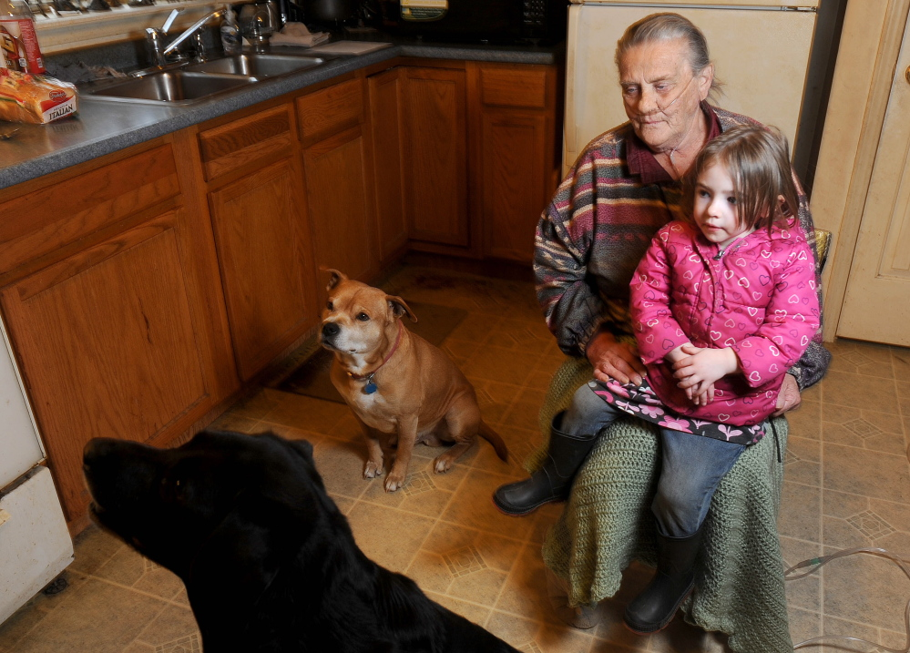 Best friends: Wealthy Shaw, 75, sits with her great-granddaughter Mikayla Call, 3, and two dogs in her son's kitchen in Palmyra on Friday. Shaw is in hospice care and receives extra help with care for her pets Buddy, a 9-year-old black Lab and Rusty, a pit bull mix.
