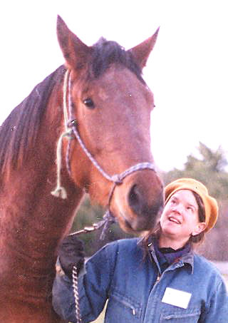 DONOR: Isabel McKay of Brooks has donated Half Moon Gardens in Thorndike to Unity College for its sustainable agriculture program. She is with her horse Derby.