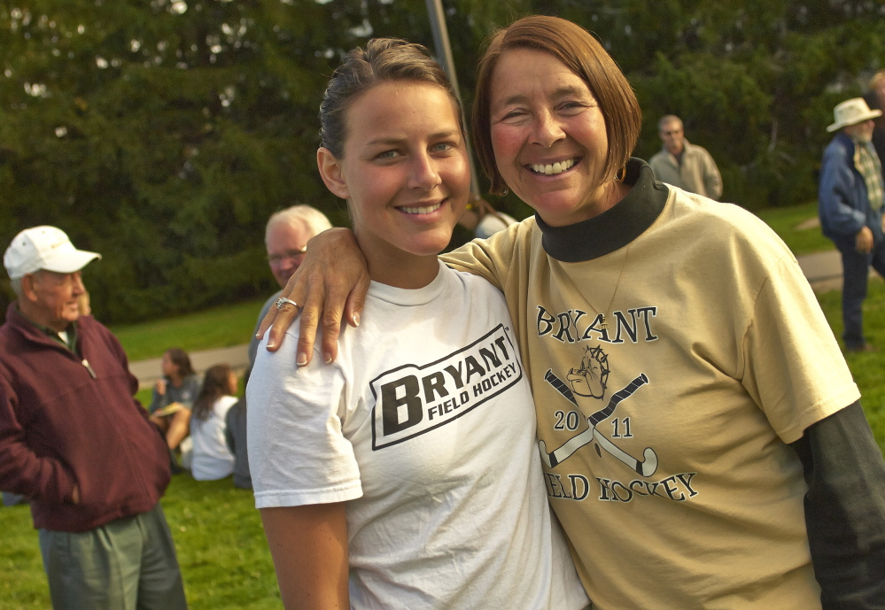 Kayleigh Ballantyne with her mother, Kim, after a field hockey game with UMaine in Orono on Oct. 6.