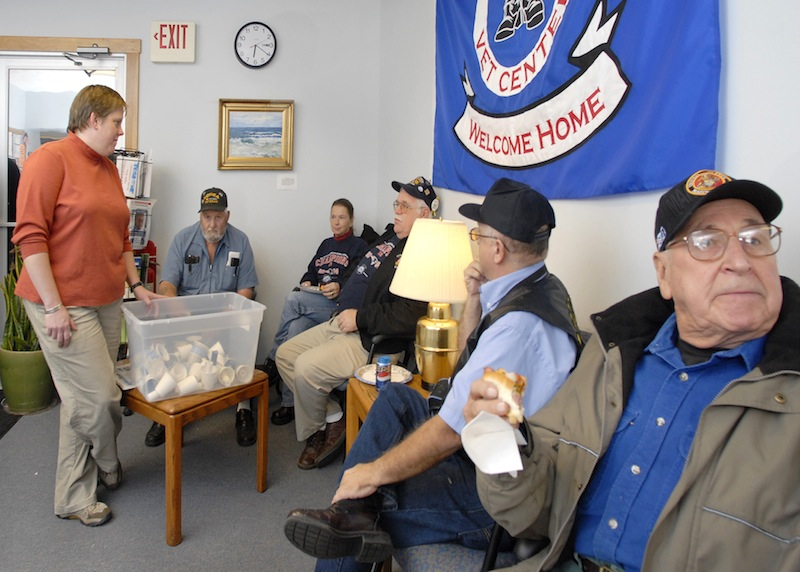 Maine veterans gather at the Sanford Vet Center in 2007. Under intense pressure from veterans' groups, members of Congress are pledging to revisit a controversial provision of the weeks-old federal budget that would reduce pension payments for younger military retirees.