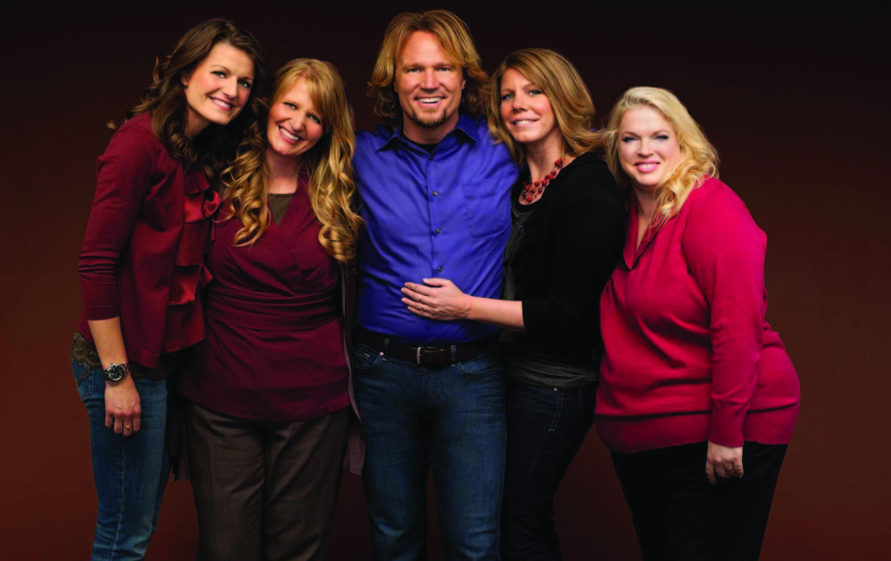 """Kody Brown,: of the TLC reality show """"Sister Wives,"""" along with his four """"wives,"""" from left, Robyn, Christine, Meri and Janelle, filed suit in 2011 to challenge parts of the law that they claimed violated their privacy rights. A federal judge last month struck down key parts of Utah's polygamy ban as unconstitutional."""