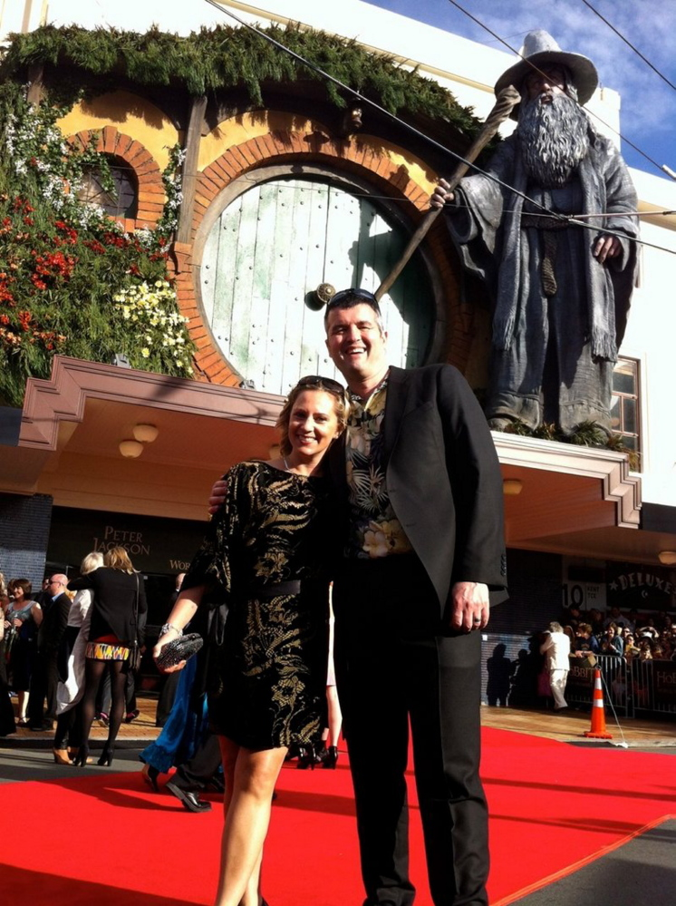"""Eric Saindon and his wife, Beth, attend the premiere of """"The Hobbit: An Unexpected Journey"""" in Wellington, New Zealand."""