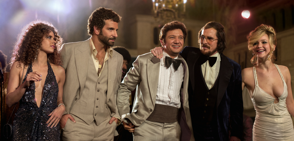 "From left, Amy Adams, Bradley Cooper, Jeremy Renner, Christian Bale and Jennifer Lawrence appear in a scene from ""American Hustle."" The film was nominated for 10 awards, including an Academy Award for best picture, on Thursday."
