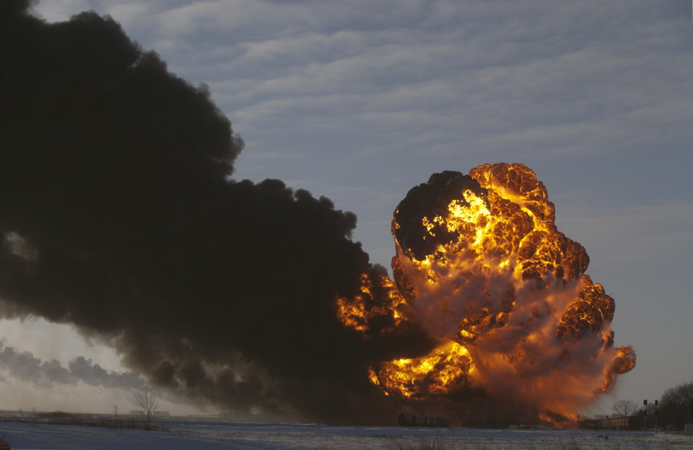 A fireball goes up at the site of an oil train derailment Dec 30 in Casselton, N.D. More crude oil was spilled in U.S. rail incidents last year than was spilled in the nearly four decades since the federal government began collecting data on such spills.