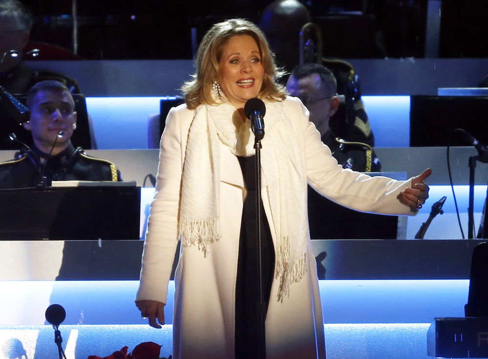 Renee Fleming performs at the National Christmas Tree lighting ceremony across from the White House in Washington.
