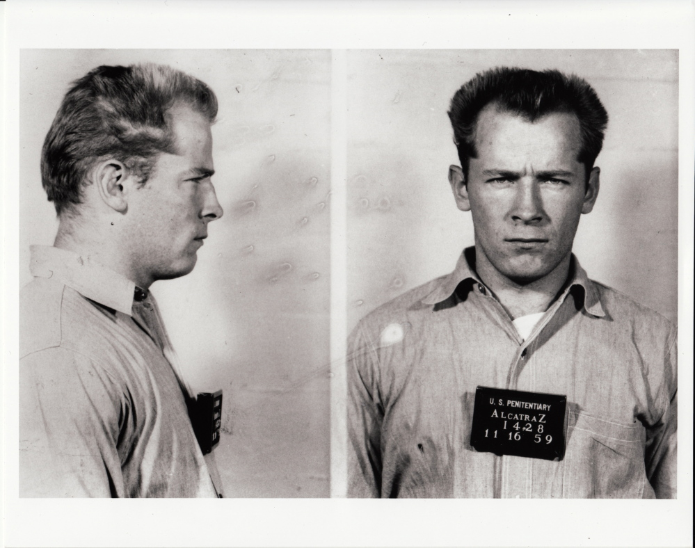 "This prison transfer photo of James ""Whitey"" Bulger from the U.S. Penitentiary at Alcatraz, in San Francisco, is included in the documentary film, ""Whitey: United States of America v. James J. Bulger."""