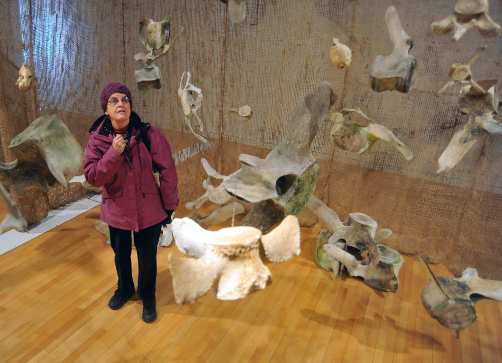 WHALE REMNANTS: Vici Robinson, of Kingfield, pauses for a moment Friday as she walks through an interactive hands-on exhibit featuring whale bones from whales native to the Gulf of Maine in the Flex Space at the Emery Community Arts Center at the University of Maine at Farmington.