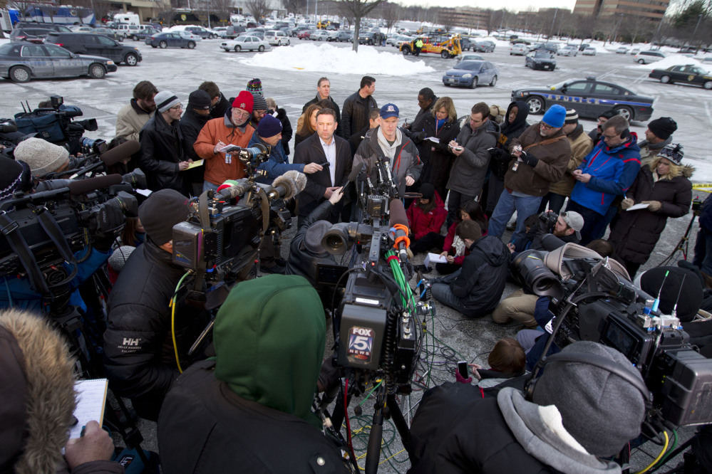 Howard County police chief William McMahon speaks to reporters at the parking lot of the Mall in Columbia, Md., after a shooting at the mall on Saturday in Howard County, Md.