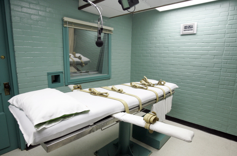 The gurney in the death chamber is shown in photo from Huntsville, Texas.