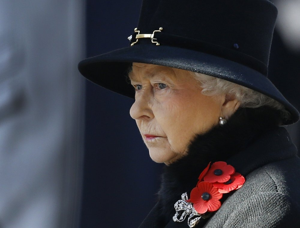 Britain's Queen Elizabeth II attends a service of remembrance at the Cenotaph in Whitehall, London, recently. A report by British lawmakers into the finances of the queen has exposed crumbling palaces and depleted coffers, and discovered that a royal reserve fund for emergencies is down to its last million pounds ($1.6 million).