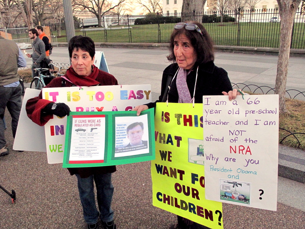 """www.brogi.info/ Linda Finkel-Talvadkar, left, and Barbara Elsas, both of whom identified as """"children of the '60s,"""" regularly set up camp outside the White House on Mondays and talk to passers-by about the need to urge politicians to revisit gun laws. The two women, along with a handful of others, have been doing this ever since the July 2012 shooting spree in Aurora, Colo."""