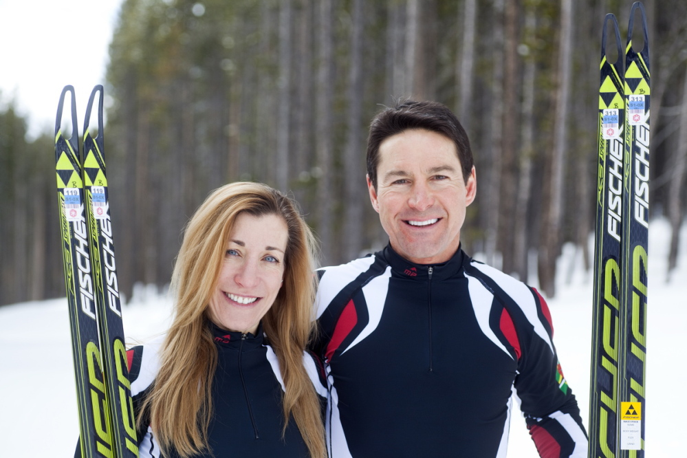 Cross-country skiers Gary and Angelica di Silvestri pose for a photo at the Yellowstone Club in Big Sky, Mont., where they have been finishing their training for the Sochi Olympics.