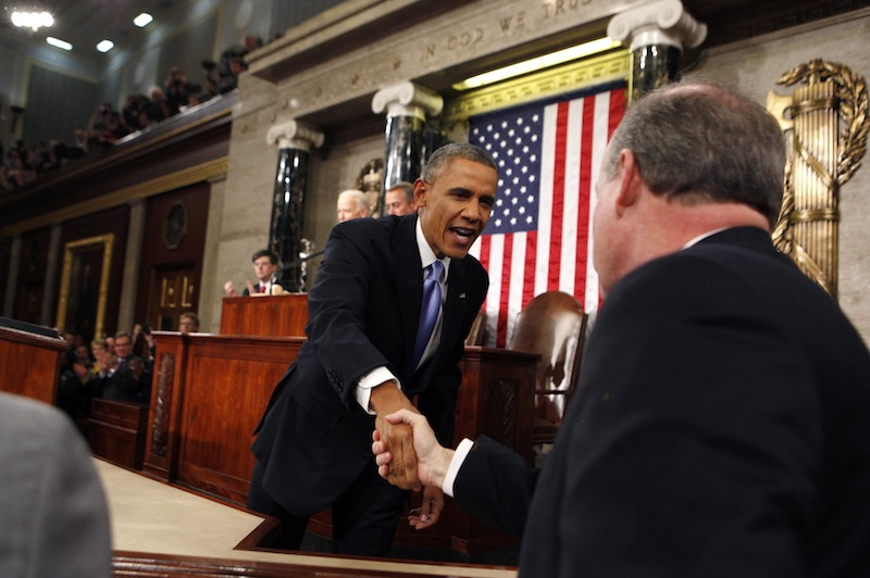 President Barack Obama arrives to deliver the State of Union address before a joint session of Congress in the House chamber Tuesday, Jan. 28, 2014, in Washington.
