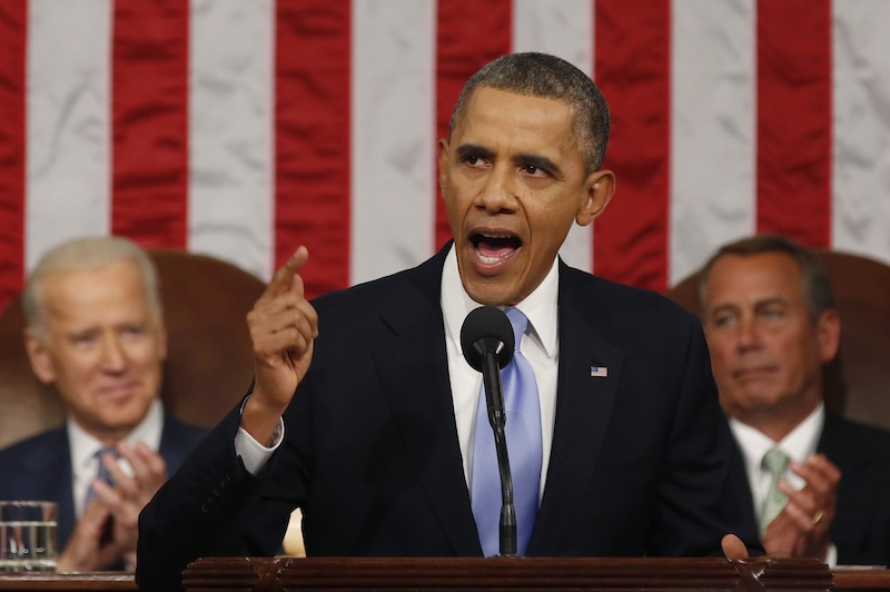President Barack Obama delivers the State of Union address before a joint session of Congress in the House chamber Tuesday, Jan. 28, 2014, in Washington, as Vice President Joe Biden, and House Speaker John Boehner of Ohio, listen.