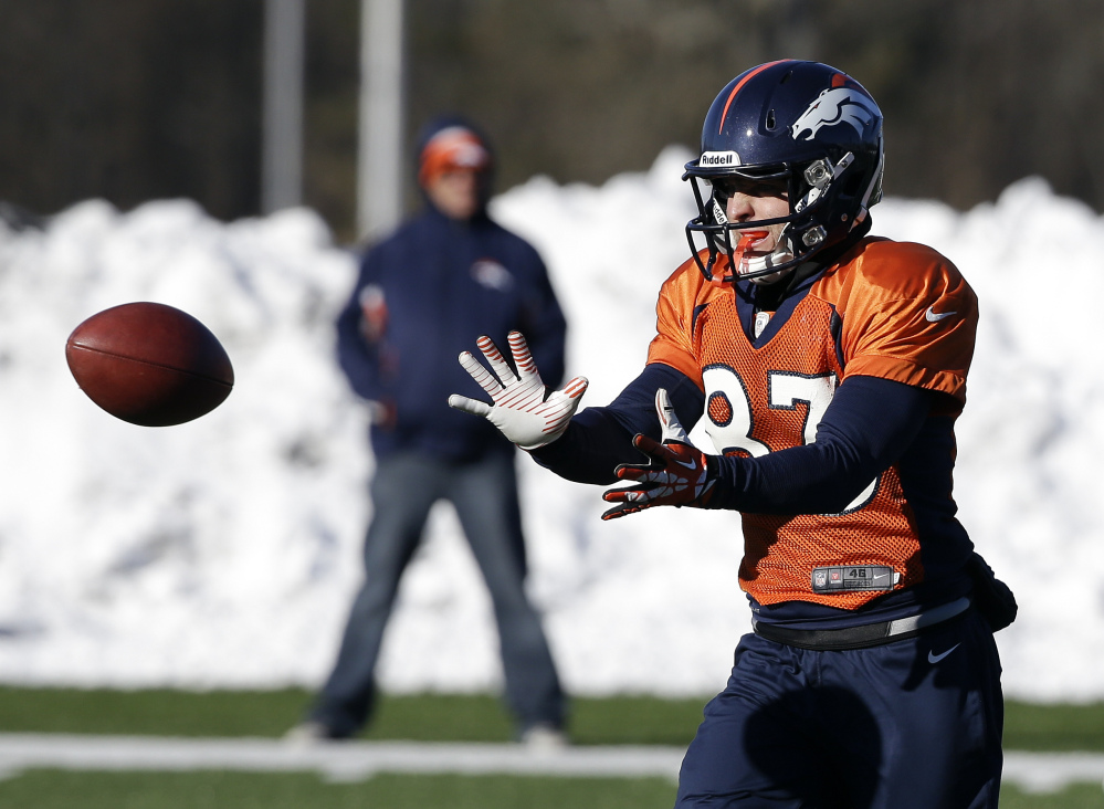Denver Broncos wide receiver Wes Welker catches a pass during practice this week in Florham Park, N.J. The Broncos play the Seattle Seahawks in the Super Bowl Sunday.