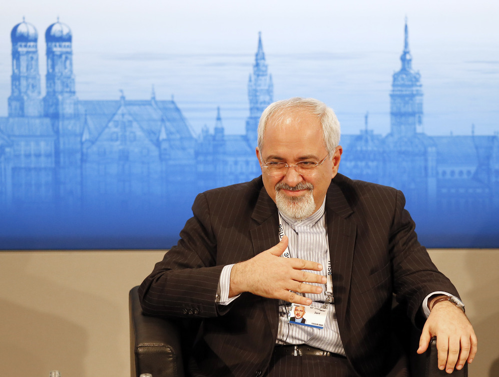 Iran's Foreign Minister Mohammad Javad Zarif listens during a panel discussion at the 50th Security Conference on security policy in Munich, Germany, on Sunday.