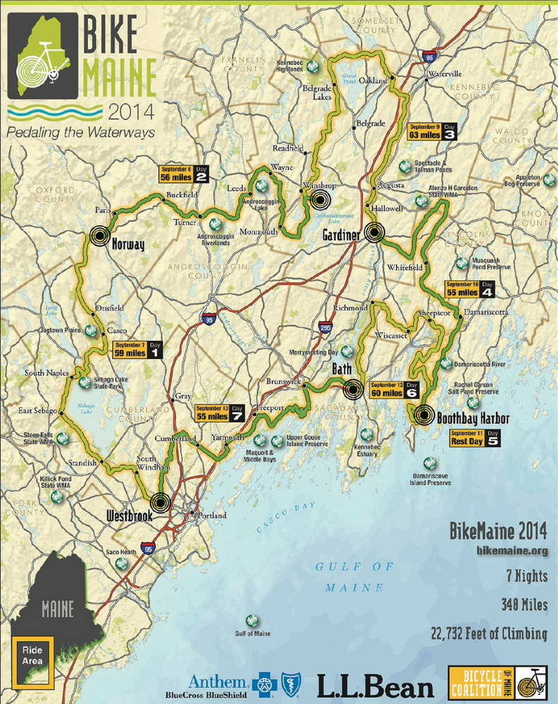 The course map for BikeMaine 2014, released on Tuesday.
