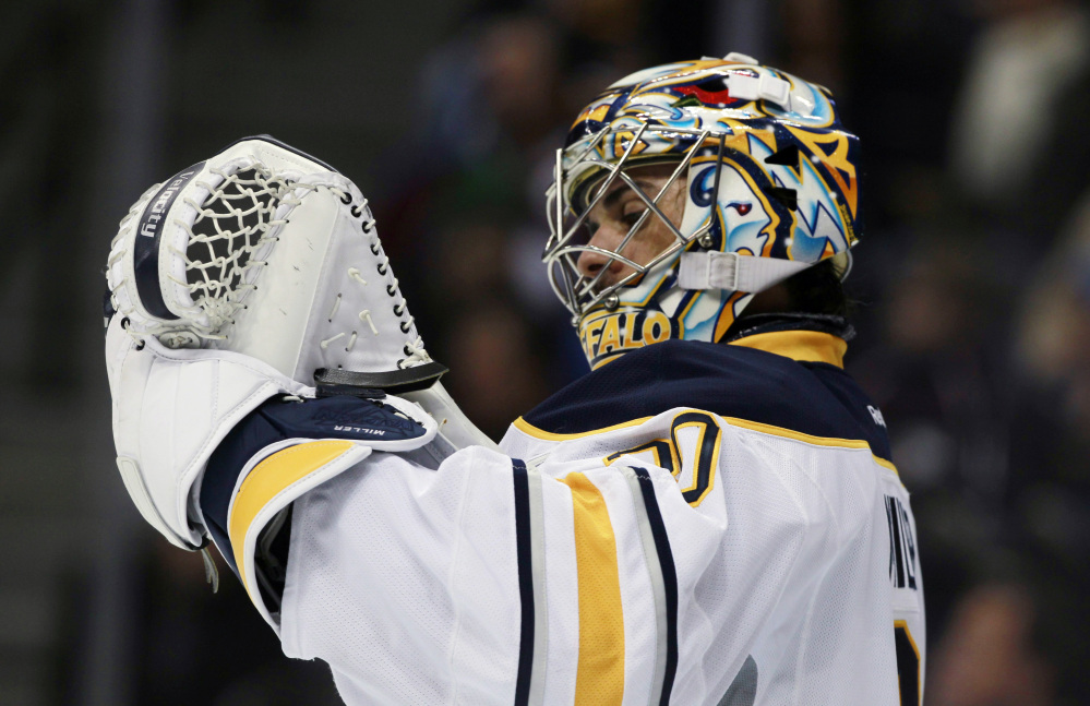 HOLDING DOWN THE NET: Buffalo Sabres goalie Ryan Miller hopes he will once again get the nod as the starting goalie for the US team at the Winter Olympics in Sochi, Russia.
