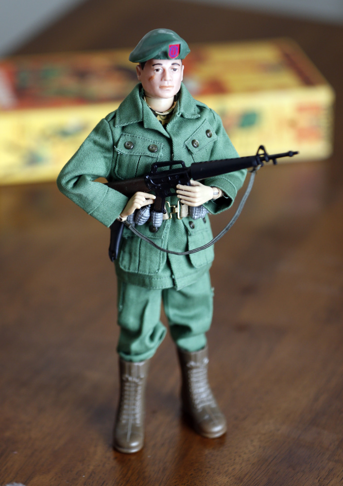 One of Tearle Ashby's G.I. Joe action figures in Niskayuna, N.Y. A half-century after the 12-inch doll was introduced at a New York City toy fair, the iconic action figure is being celebrated by collectors with a display at the New York State Military Museum.