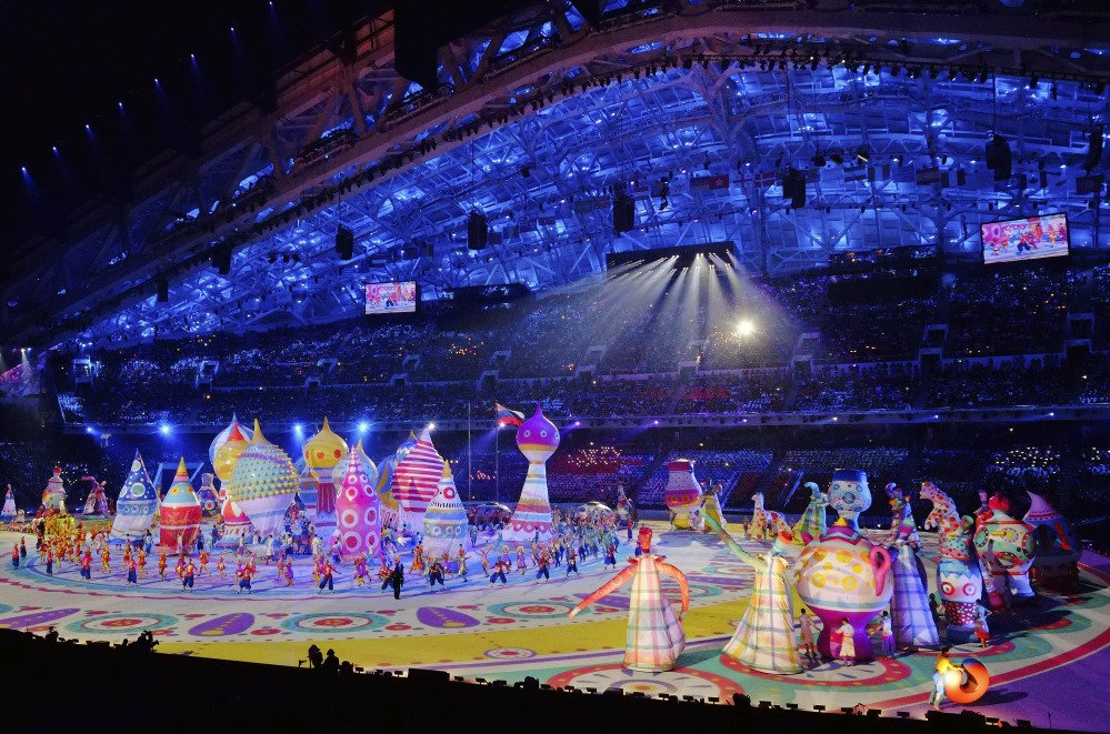 Artists perform during the opening ceremony of the 2014 Winter Olympics in Sochi, Russia, Friday, Feb. 7, 2014.(AP Photo/J. David Ake)