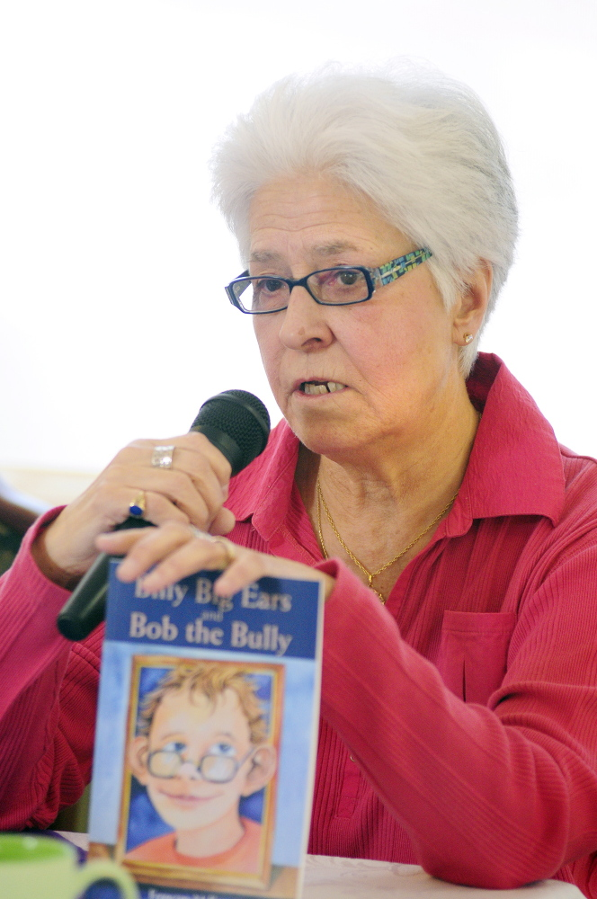Watching for signs: Author Francine McEwen participates in a panel discussion about bullying of the elderly during an event Saturday at The Cohen Center in Hallowell.