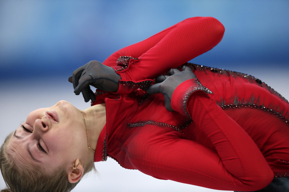 Julia Lipnitskaia of Russia competes in the women's team free skate figure skating competition at the Iceberg Skating Palace Sunday during the 2014 Winter Olympics.
