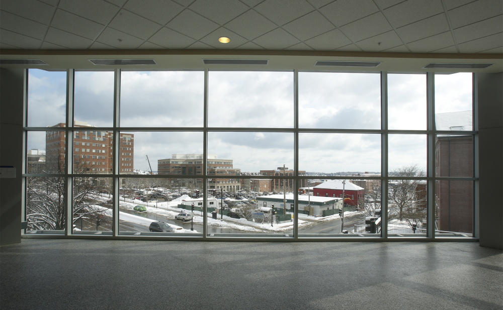 The $34 million renovation of the Cumberland County Civic Center includes a lot of glass at the enclosed corners, creating spaces that can be closed off for various purposes.