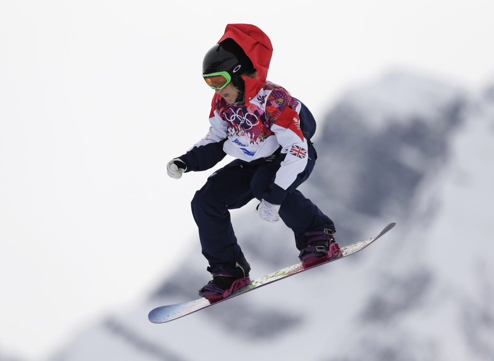 Britain's Jenny Jones takes a jump during the women's snowboard slopestyle final at the 2014 Winter Olympics in Krasnaya Polyana, Russia, on Feb. 9, 2014. When Jones won the bronze medal in the event, her following on Twitter exploded.