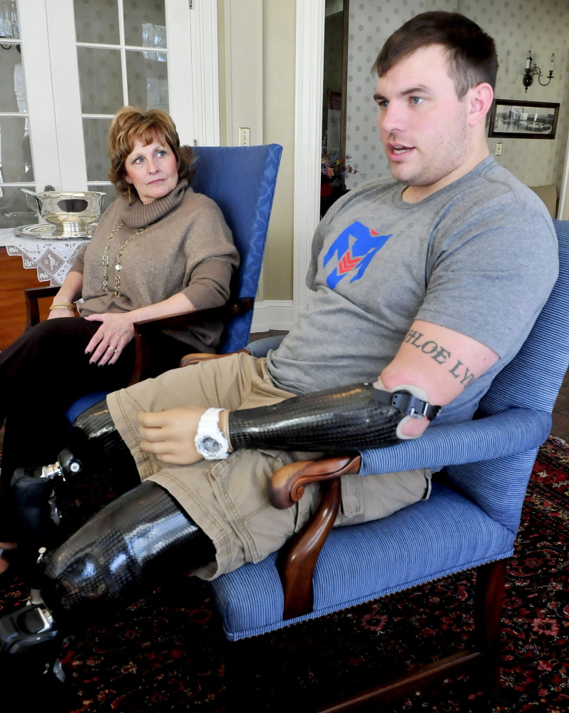 Promoting his Project: Wounded Army veteran Travis Mills, speaking on Wednesday during a meeting with Maine first lady Ann LePage at the Blaine House in Augusta, talks about the effort to raise money for a recreation center on Salmon Lake in Belgrade that would help other disabled veterans recover from their injuries.