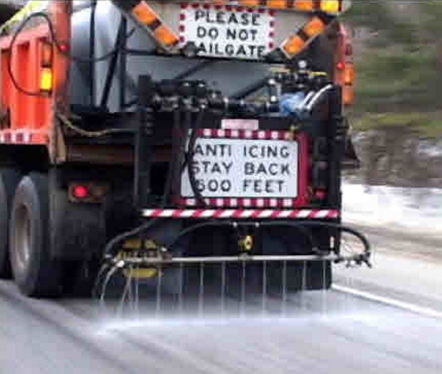 brine: A state Department of Transportation truck pre-wets a road by spraying salt brine, which is rock salt dissolved in water.