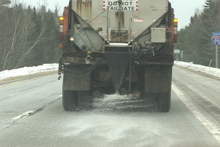SALT: A state Department of Transportation truck drops salt on Interstate 95.
