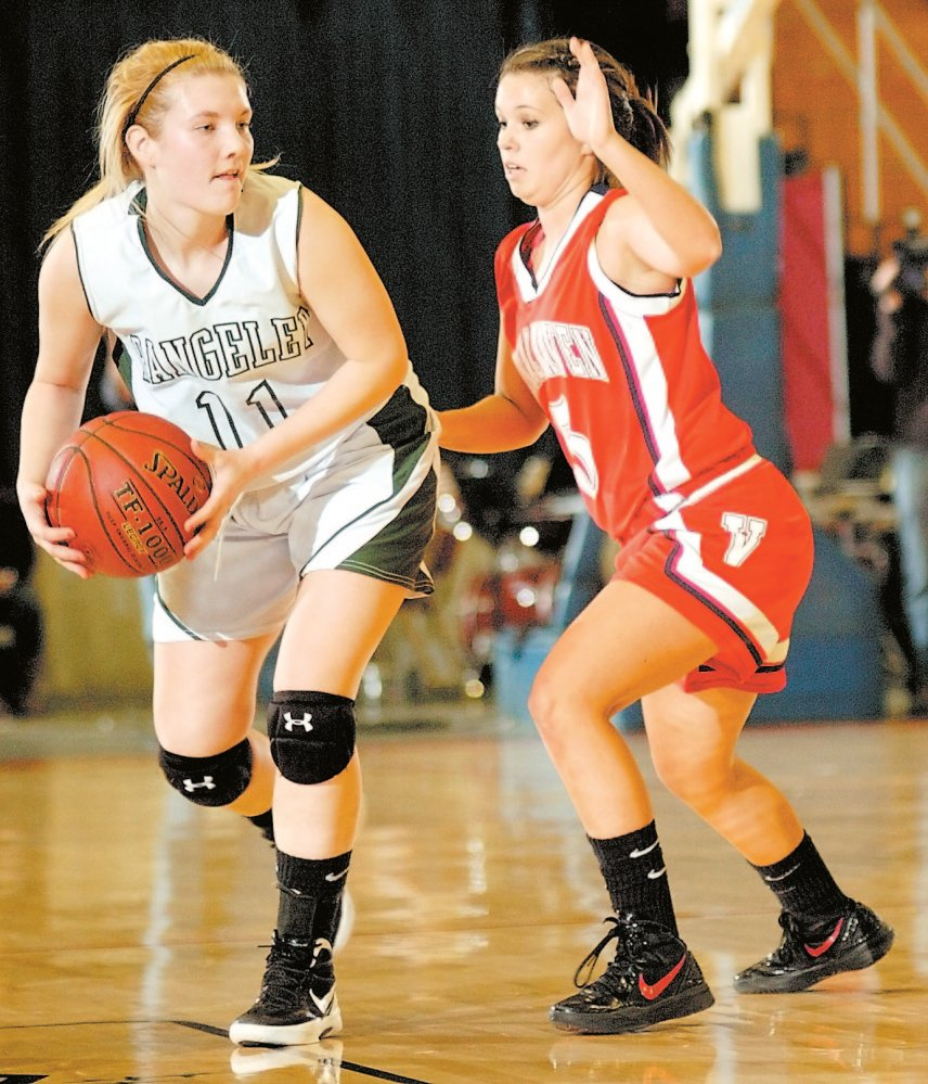 Original: Staff photo by Joe Phelan Rangeley's Seve Deery-DeRaps is guarded by Vinalhaven's Eliza Davidson during the Western Maine Class D tournament on Thursday morning at the Augusta Civic Center. Published: GOOD DEFENSE: RangeleyÕs Seve Deery-DeRaps is guarded by VinalhavenÕs Eliza Davidson during the Western Maine Class D semifinals Thursday morning at the Augusta Civic Center. Staff photo by Joe Phelan