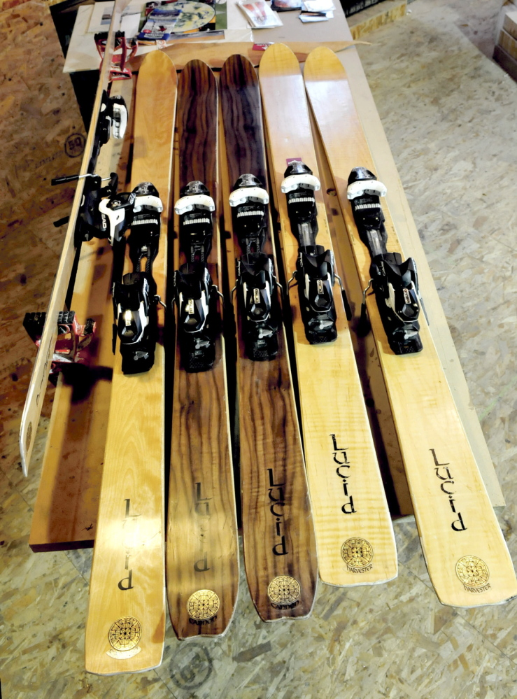TRY ONE: These custom made wood skis made at the Lucid Ski company in Phillips are used as demonstration skies at nearby Saddleback Mountain for potential buyers to try out.