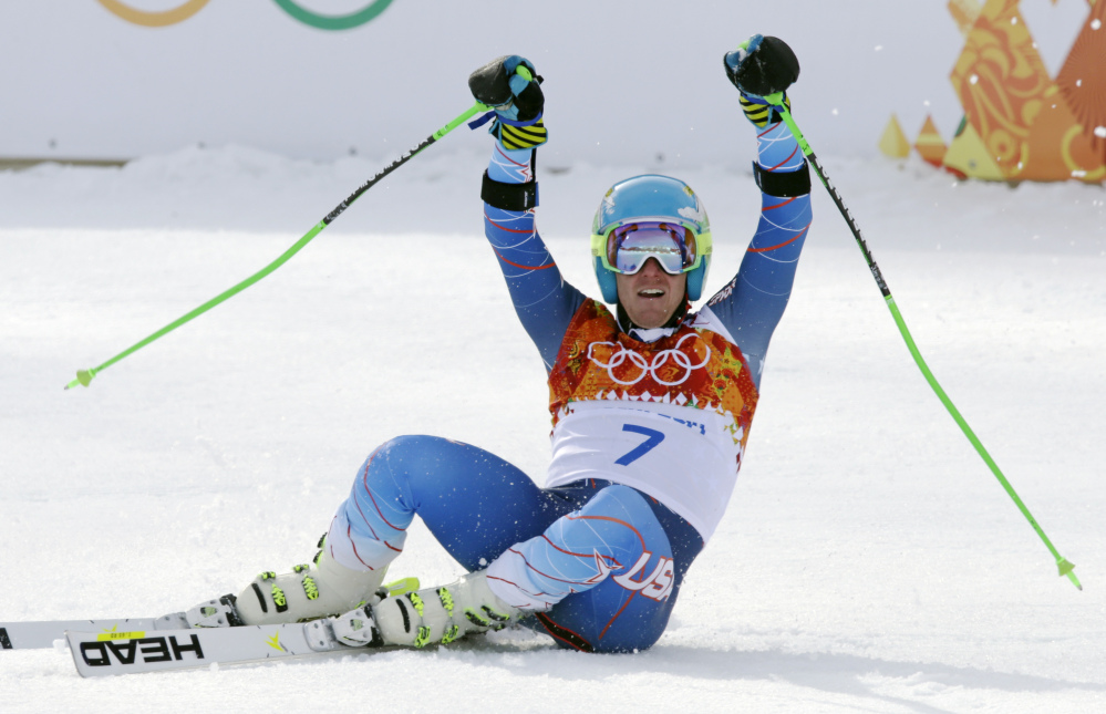 Ted Ligety celebrates after winning the gold medal in the men's giant slalom Wednesday at the Sochi 2014 Winter Olympics in Krasnaya Polyana, Russia.