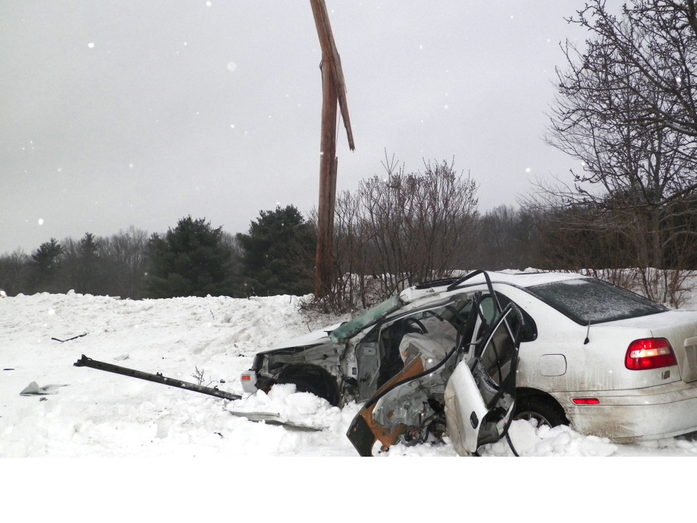 Deadly crash: Jordan D. Maroon, 22, died Friday morning when the 2003 Volvo he was driving crashed into a utility pole on Maple Ridge Road in China, police said.