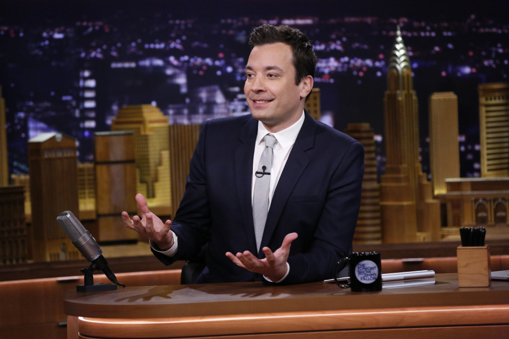 "This photo released by NBC shows host Jimmy Fallon during ""The Tonight Show Starring Jimmy Fallon,"" in New York."